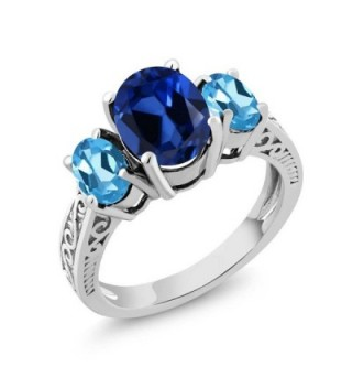 3.25 Ct Blue Simulated Sapphire Swiss Blue Topaz 925 Sterling Silver 3-Stone Ring - CD11GO4IJVF