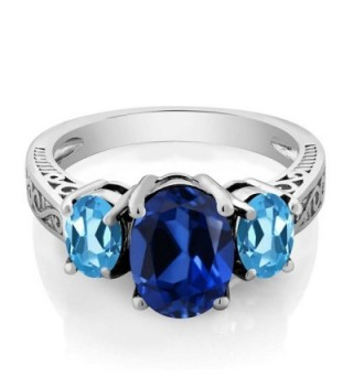 Simulated Sapphire Sterling Silver 3 Stone