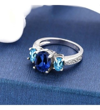 Simulated Sapphire Sterling Silver 3 Stone in Women's Statement Rings