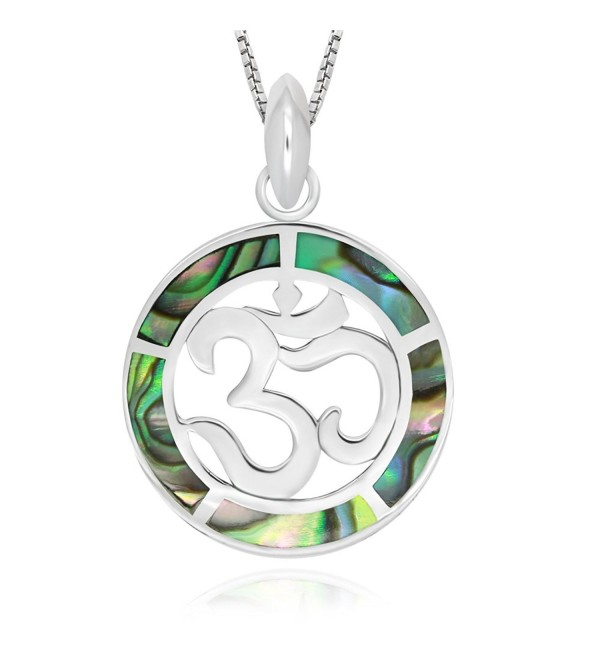 "925 Sterling Silver Abalone Shell Chakra Yoga Om Aum Ohm Symbol Pendant Necklace- 18"" - CU17YZEQ5OH"