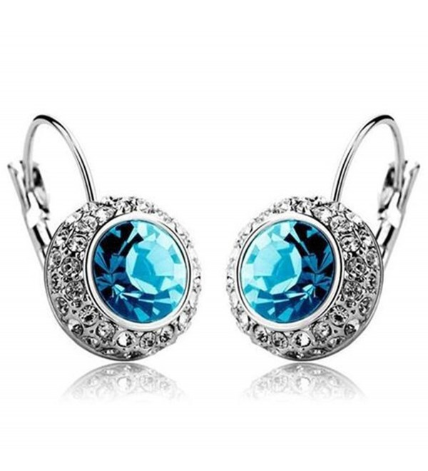 MANDI HOME New Rhinestone Crystal Dangle Earrings Ear Hook Stud for Woman Girl Lady (Blue) - CK11JK4Z72P