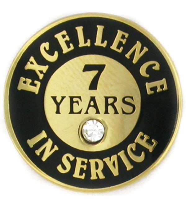 PinMart's Gold Plated Excellence in Service Enamel Lapel Pin w/ Rhinestone - 7 Years - CT119PEN529