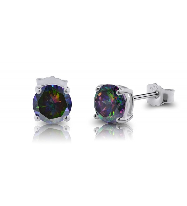 De Lelu Sterling Silver Round Cut Simulated Mystic Topaz Cubic Zirconia Stud Earrings - CM12F1XMWDF