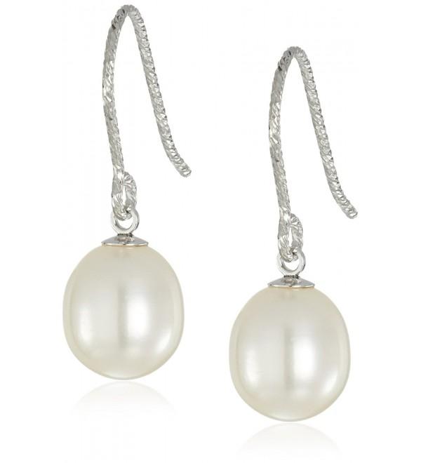 Bella Pearl Diamond Cut Freshwater Pearl Silver Drop Earrings - CD128ZP2S49