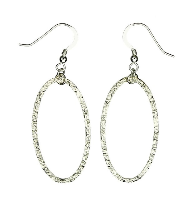 Sterling Silver Flat Hammered Oval Large Links Earrings Italy - CJ119ES6U5Z