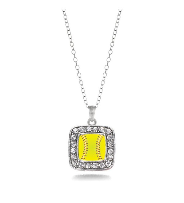 Softball Player Charm Classic Silver Plated Square Crystal Necklace - CG11MCHXLHZ