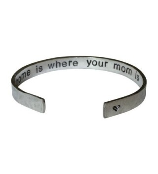 """Home Is Where Your Mom Is Hand Stamped 1/4"""" Aluminum Cuff Bracelet - C112NEMA4XS"""