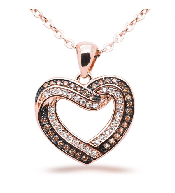 Chocolate CZ Heart Pendant Necklace Pink Rose Gold Plated Flashed Women Fashion 18 in - CP12OCA9C3X