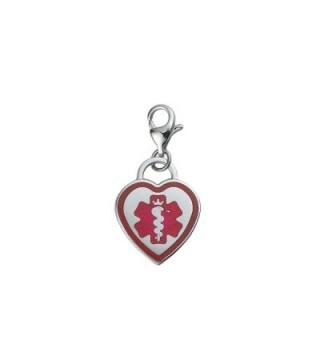 Divoti Custom Engraved Premier 316L Medical Alert ID Heart Charm w/ Lobster Clasp - CS12IKZ3FOL