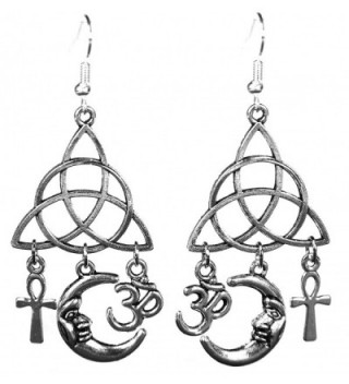 Silvertone Dangle Earrings w/ Egyptian Ankh- Pagan Crescent Moon- Hindu Om & Celtic Triquetra- 2.5 Inches - C012IGRW4T5