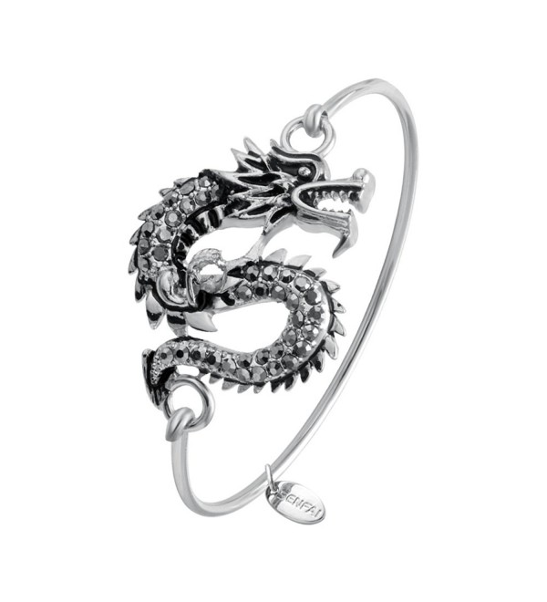 SENFAI Dragon Hook Open Bangle Bracelet Crystal Jewelry 3 tone - CO12F4G56ZF