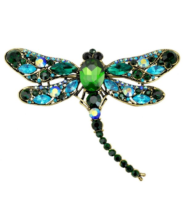 SELOVO Blue Green Dragonfly Big Large 3in Statement Brooch Pin Antique Gold Tone - CZ12NG5SS9E
