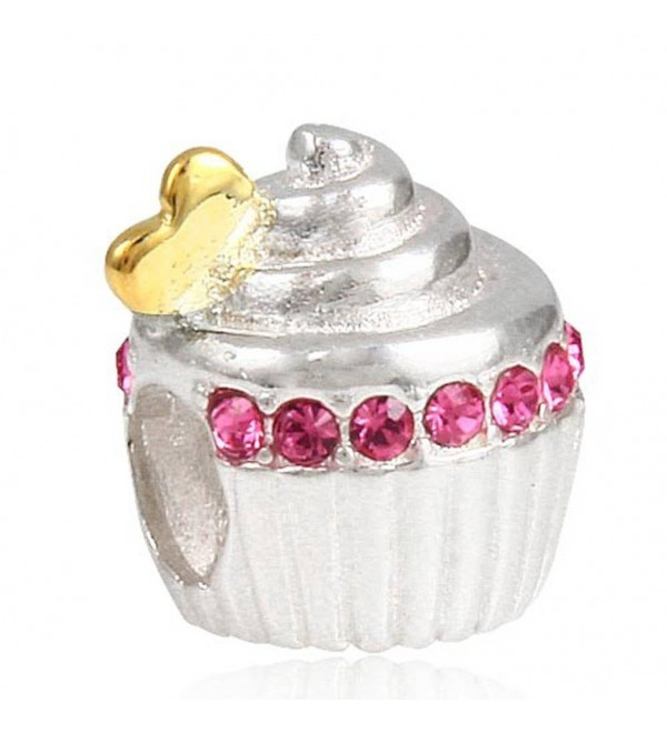"Choruslove Sweet Cupcake Charm with Golden Heart for Snake Chain Bracelet(Rose Crystal) - ""		 	 Rose Crystal	 	"" - CZ12FGK6EGT"
