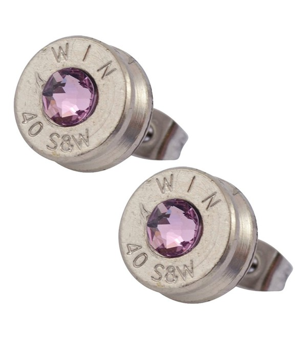 Little Black Gun Nickel Plated 40 S&W Bullet Shell Crystal Stud Earrings in Light Purple - CB127BOUGX5