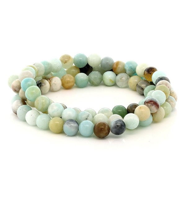 Stunning 6mm Round Amazonite Bead Stretchy Wrap Bracelet / Necklace - CI11XYJJGAP