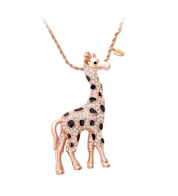 SENFAI Giraffe Deer Pretty Black Enamel Crystal Sweater Pendant Necklace Three Color - CV12IOYW229