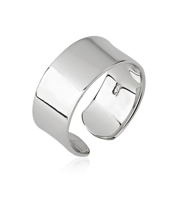 925 Sterling Silver Plain Wide Band Shiny Polished Wrap Around Knuckle Midi or Thumb Ring- 8mm - C6186TLXEGT