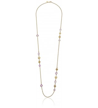"1928 Jewelry Gold-Tone Light Purple and Simulated Pearl Long Strand Necklace- 42"" - CI12DOP8AMN"