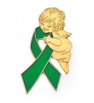 PinMart's Green Awareness Ribbon Religious Spiritual Angel Enamel Lapel Pin - C211KRNDJ69