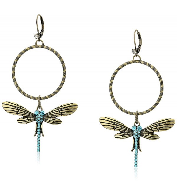 """Betsey Johnson """"Throwback Betsey"""" Pave Dragonfly Gypsy Hoop Earrings - C512EBIB13X"""