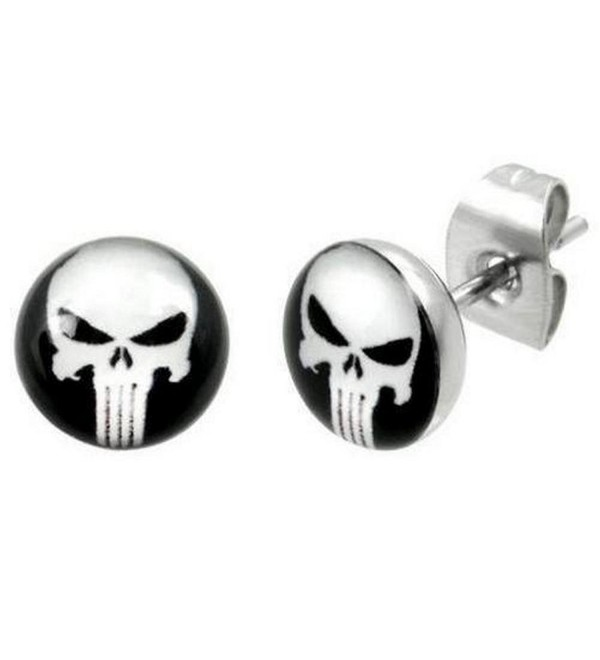 "Timeless Treasures - Stainless Steel Punisher Stud Earrings - 7 mm Diameter (.27"") - C9119RAMA9N"