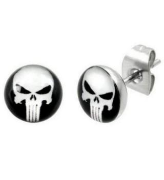 """Timeless Treasures - Stainless Steel Punisher Stud Earrings - 7 mm Diameter (.27"""") - C9119RAMA9N"""