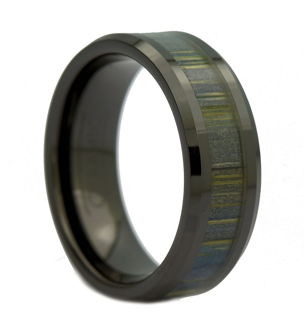 MJ 8mm Black Ceramic Ring- Inlay Made from Zebra Wood. Wedding Band Ring - CO127PVZZAH