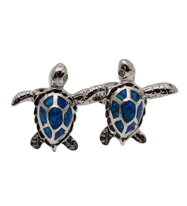 Jewelry Sets Pendants Stud Earrings 925 Sterling Silver Sea Turtle Blue Opal - CU17YSD4L3E