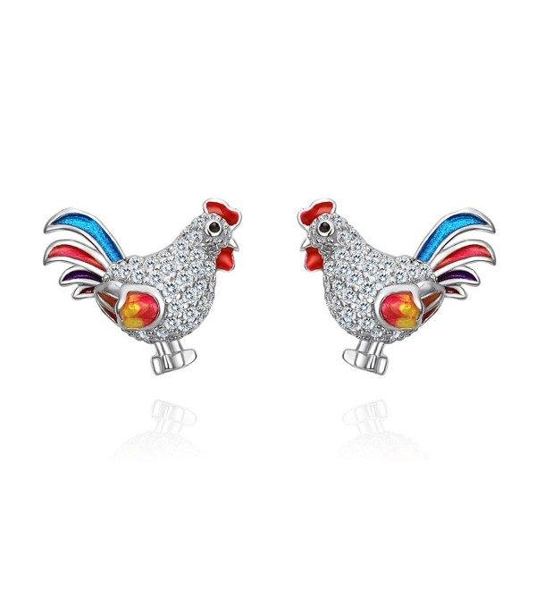 EVER FAITH Women's 925 Sterling Silver CZ Multicolor Enamel Rooster Animal Jewelry Set - CH17YRC8LM9