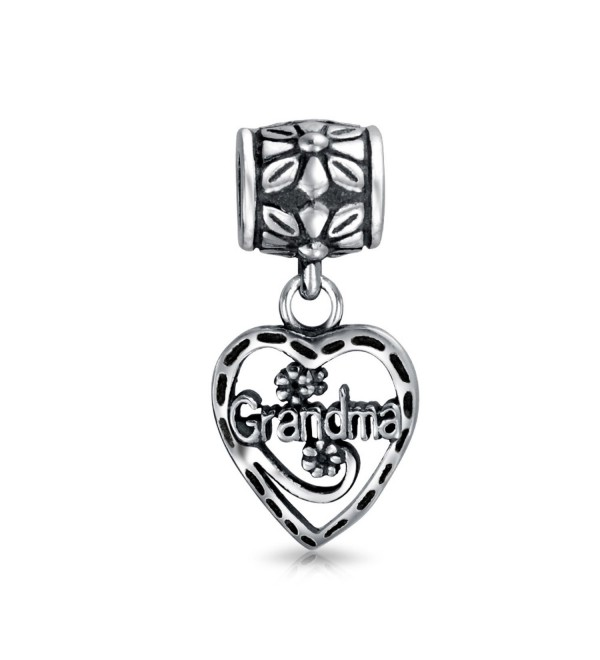 Bling Jewelry Grandma Vintage Style Heart Silver Dangle Bead Charm - CA116C12OAV