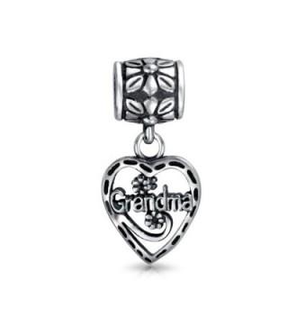 Bling Jewelry Grandma Vintage Style Heart Silver Dangle Bead Charm - CA116C12OAV
