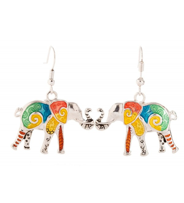 Artisan Owl - Elephant Multicolor Decorative Dangle Earrings - C2127Q2IL0H