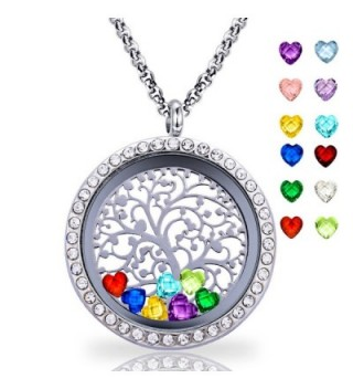 Floating Living Memory Locket Pendant Necklace Family Tree of Life Necklace All Birthstone Charms Include - CX182TN6I3K