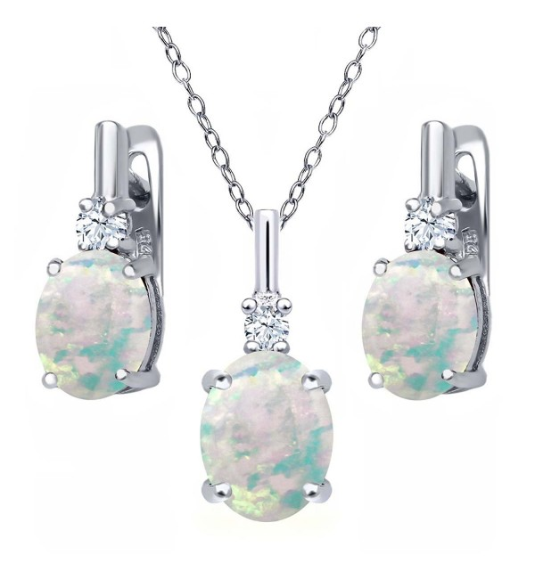 4.85 Ct Oval Cabochon White Simulated Opal 925 Sterling Silver Pendant Earrings Set - C3126E78371