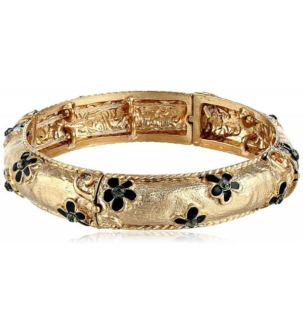 "1928 Jewelry ""Le Marais"" Gold-Tone Black Enamel Flower with Crystal Accent Stretch Bracelet - CJ11MY5RVJT"