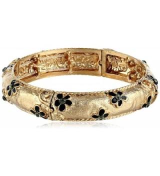 """1928 Jewelry """"Le Marais"""" Gold-Tone Black Enamel Flower with Crystal Accent Stretch Bracelet - CJ11MY5RVJT"""