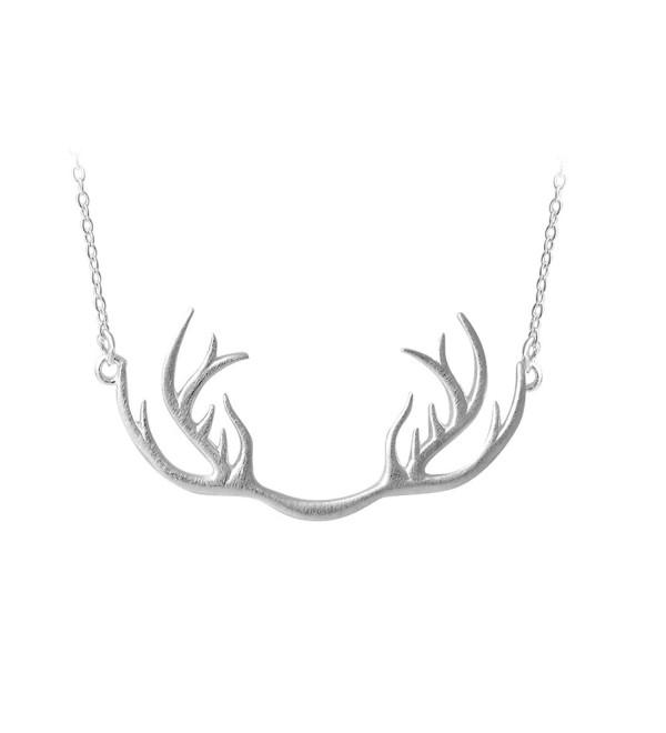 Helen de Lete Innovative Deer Horn Antler Sterling Silver Collar Necklace - C012F39G0PN