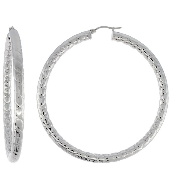 Stainless Steel Hoop Earrings 3 inch 4 mm Round Tube Zigzag Pattern Light Weightt - C1110S70HKP