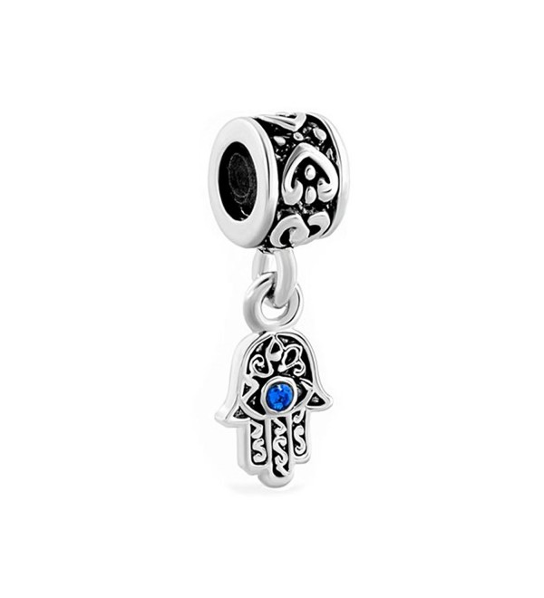 LovelyJewelry Lucky Charm Heart Love Dangle Hamsa Hand Blue Evil Eye Spacer Charms Beads For Bracelet - C111TC1CLO3