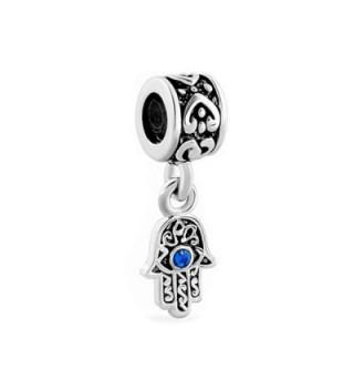 LovelyJewelry Lucky Charm Heart Love Dangle Hamsa Hand Blue Evil Eye Spacer Charms Beads For Bracelet - C111TC1CLO3