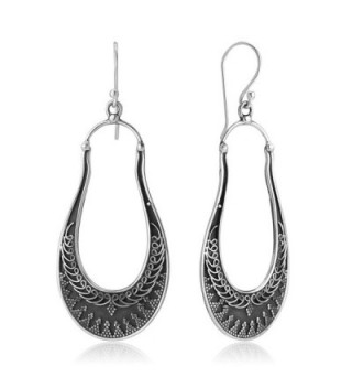 "925 Oxidized Sterling Silver Delicated Ethnic Tribal Filigree Indian Long Hoops Earrings 2.59"" - C017YT89UXR"