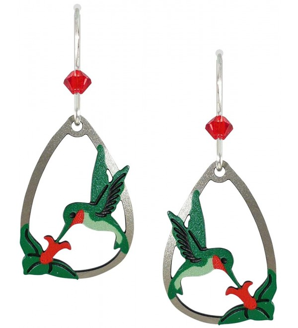 Sienna Sky Ruby Throat Hummingbird Teardrop Earrings 1419 - C011EXBTDXT