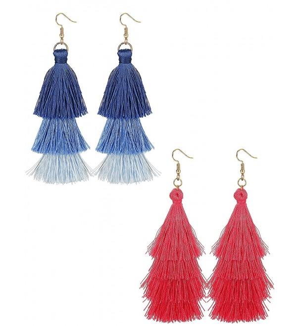 FINREZIO 1-2 Pairs Drop Dangle Tassel Earrings for Women Girls Tiered Thread Earrings - CV188IE75W3
