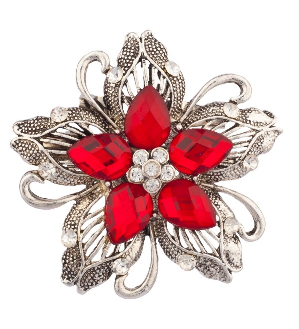 Lux Accessories Heirloom Floral Stone Flower Brooch - CZ11L7LRP3N