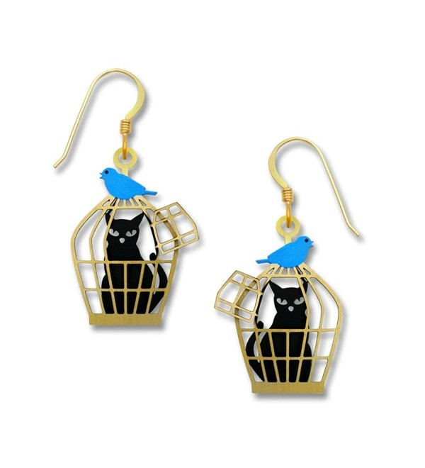 Sienna Sky Black Cat in Cage with Bluebird Earrings 1900 - CD125UKNE13