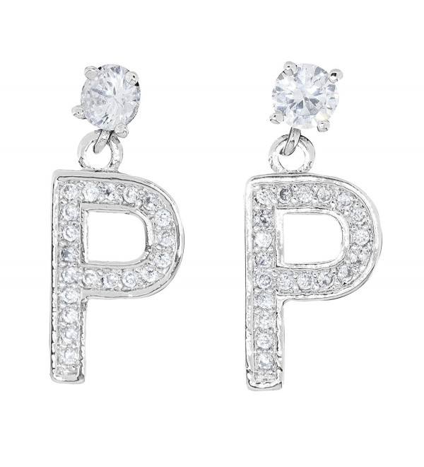 Silver Tone Alloy Clear Rhinestone Anchor Initial Alphabetic Letter Fashion Dangle Earrings - CK12JGN2R6D
