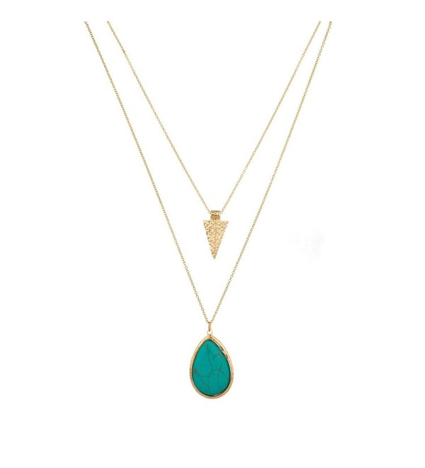Lux Accessories Womens Turquoise Stone Teardrop Arrow Arrowhead Layered Necklace - Gold - CJ123FIO76D
