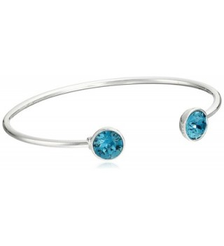 "Oroclone Silver Plated 10mm Blue Zircon Swarovski Crystal December Bangle Bracelet- 2.25"" - CW11QJBPLCX"
