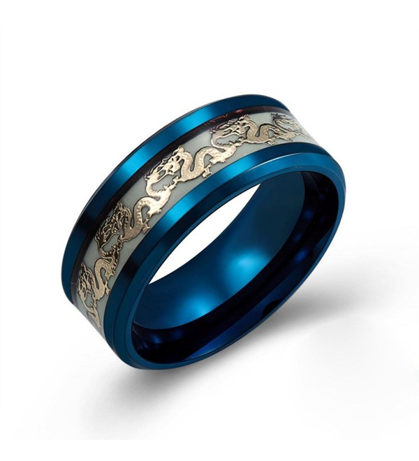 Men's 8mm Luminous Effect Rings Stainless Steel Dragon Pattern Band Ring For Women Glow in the Dark - CP188W3RW8U