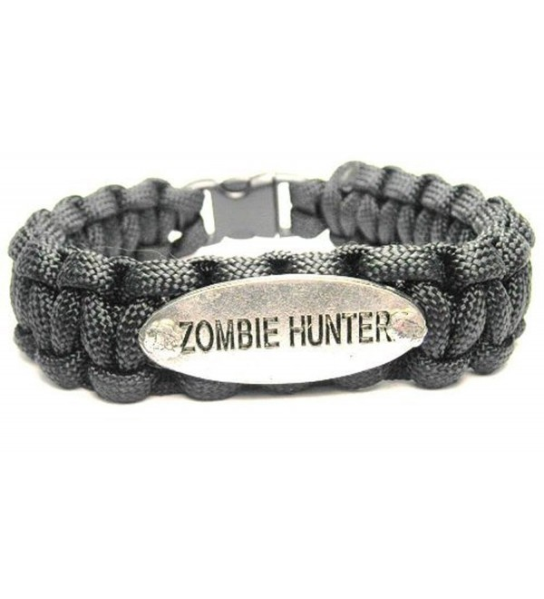 Zombie Hunter Black ChubbyChicoCharms 550 Paracord Pewter Charm Bracelet - CO11IAE1OH7